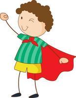 personnage de dessin animé fille super héros dans un style doodle dessiné main vecteur