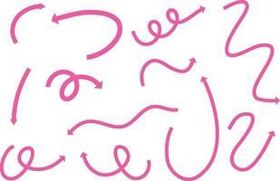 Différents types de flèches courbes dessinées à la main rose sur fond blanc vecteur