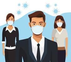 gens daffaires travaillant et portant des masques médicaux vecteur