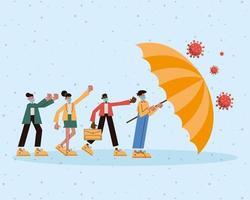 groupe de personnes portant des masques médicaux avec parapluie vecteur