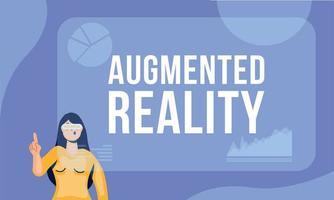 femme utilisant la réalité augmentée sur l'écran interactif vecteur