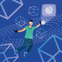 jeune homme utilisant la réalité augmentée sur écran interactif vecteur