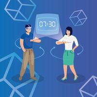 couple utilisant la réalité augmentée sur la smartwatch vecteur