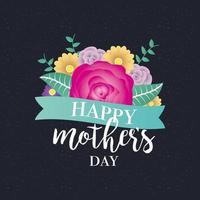 bonne fête des mères avec décoration florale vecteur