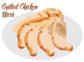 filets de poulet grillés sur plaque d'ardoise. impression de fond de béton gris vecteur