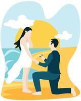 veux-tu m'épouser concept, homme asiatique à genoux demandant à sa petite amie de se marier sur la plage. vecteur