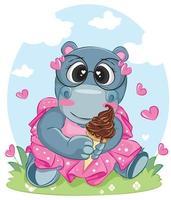 hippopotame tenant cornet de crème glacée vecteur