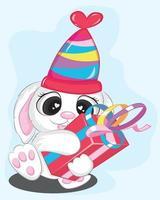 mignon lapin avec boîte-cadeau rouge et anniversaire