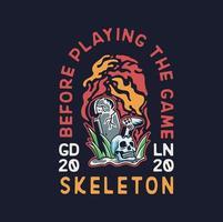 joueur de main squelette avec joystick et conception de vêtements de pierre tombale vecteur