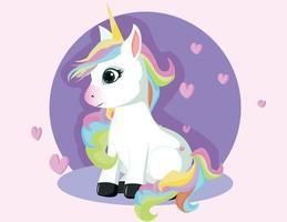 petite licorne magique rose. conception de vecteur sur fond blanc. impression pour t-shirt. illustration de dessin à la main romantique pour les enfants.