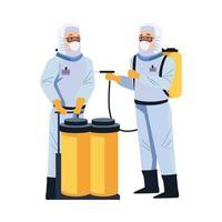 travailleurs de la biosécurité avec pulvérisateur portatif et réservoirs vecteur