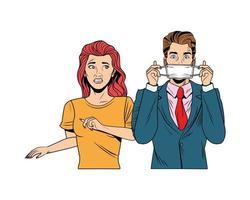 homme d & # 39; affaires et femme utilisant un style pop art masque facial vecteur
