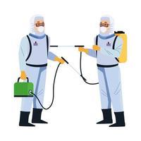 travailleurs de la biosécurité avec des pulvérisateurs portables vecteur