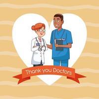 personnages de couple professionnel médecin et chirurgien vecteur