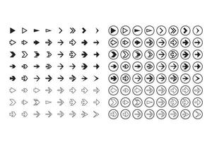 ensemble de flèches isolées, boutons d'annulation et précédents
