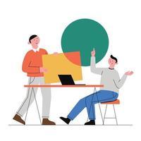 discussion et brainstorming. vecteur