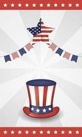 Conception de célébration du 4 juillet avec drapeau américain et chapeau vecteur