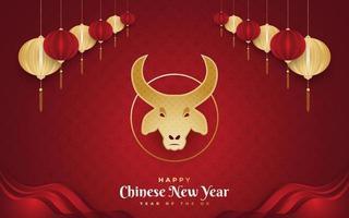 bonne année chinoise 2021 année du bœuf. Bannière du nouvel an chinois décorée de tête de bœuf d'or et de lanternes dorées sur fond de papier rouge vecteur