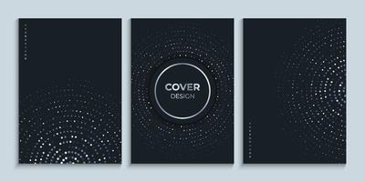 modèle de conception de couverture noire avec jeu de cercles lumineux vecteur