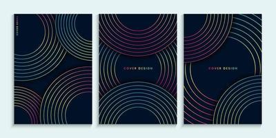 conception de couvertures sombres avec des cercles colorés linéaires vecteur