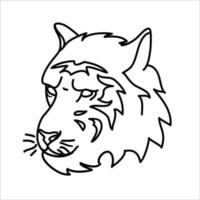 conception d'icône de tigre animal. vecteur, clipart, illustration, style de conception d'icône de ligne. vecteur