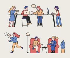 les gens parlent et travaillent.