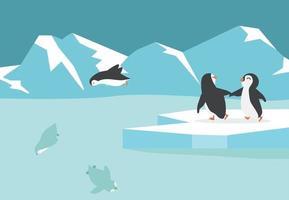 fond de groupe de pingouins arctique pôle nord hiver vecteur