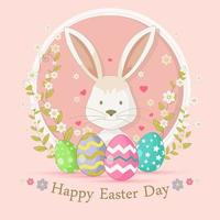 joyeuses pâques avec un lapin mignon vecteur