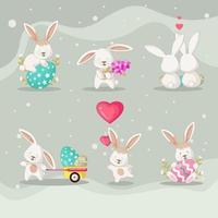 collection de personnages de lapin de pâques vecteur