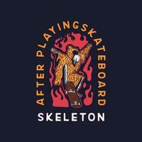 squelette de paradis de crâne. planche à roulette vecteur