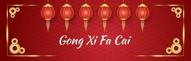 Gong xi fa cai bannière de voeux avec des lanternes rouges et or et des pièces sur un fond ornemental rouge vecteur