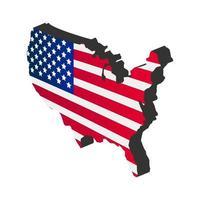 Carte des états-unis isométrique sur fond blanc