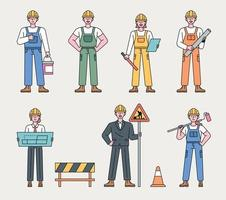 caractère de travailleur au chantier de construction. les ouvriers du bâtiment dans diverses positions se tiennent avec leurs propres outils. illustration vectorielle minimale de style design plat. vecteur