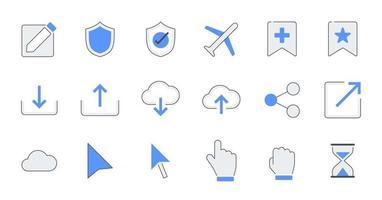 jeu d'icônes d'interface utilisateur essentiel contour rempli. vecteur