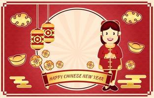 fond de dessin animé nouvel an chinois vecteur