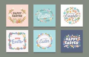ensemble de décoration d'oeuf de Pâques coloré pour les médias sociaux vecteur