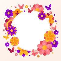 arrangement floral coloré sur fond de cercle vecteur