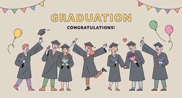 affiche de cérémonie de remise des diplômes. vecteur