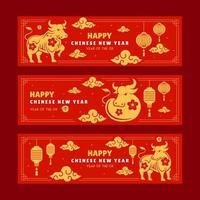 bannières horizontales nouvel an chinois 2021 année du bœuf