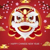 danse du lion fête du nouvel an chinois vecteur