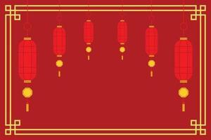 fond d'écran rouge de lanternes chinoises traditionnelles pour le nouvel an chinois. vecteur