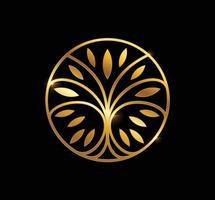 logo arbre cercle doré vecteur