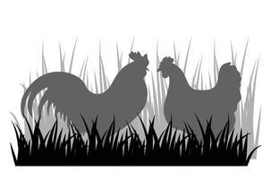 signe de silhouette coq et poule vecteur