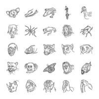 animaux tropicaux mis vecteur d'icône. style d'icône dessiné à la main ou contour doodle