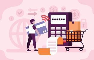 paiement technologique intact par carte de crédit vecteur