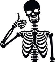 squelette de pochoir avec signe de la main vecteur
