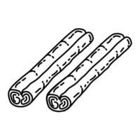 icône de cannelle. style d'icône dessiné à la main ou contour doodle vecteur