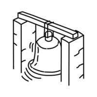 icône de grosse cloche. style d'icône dessiné à la main ou contour doodle vecteur
