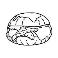 icône de curseurs de poulet italien. style d'icône dessiné à la main ou contour doodle