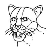 icône de margay. style d'icône dessiné à la main ou contour doodle vecteur